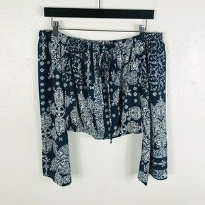 Altar'd State Size Small Laurencia Crop Top Blue